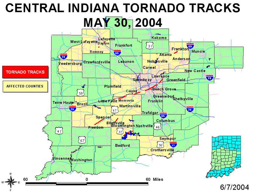 Central Indiana Map.May 30 2004 Central Indiana Tornadoes