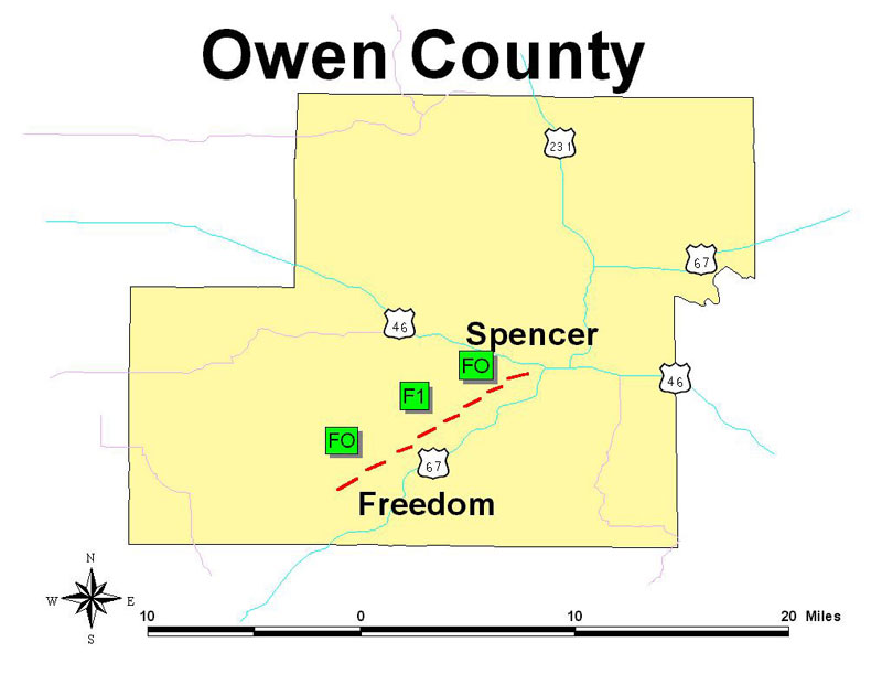 Owen County Tornado Track Map