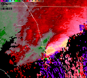 Storm Relative Velocity from 3:41 PM EST