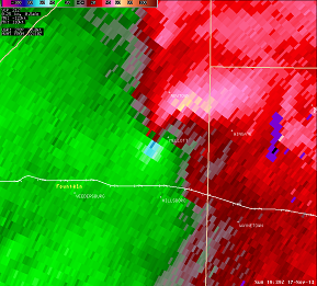 Storm Relative Velocity from 2:39 PM EST