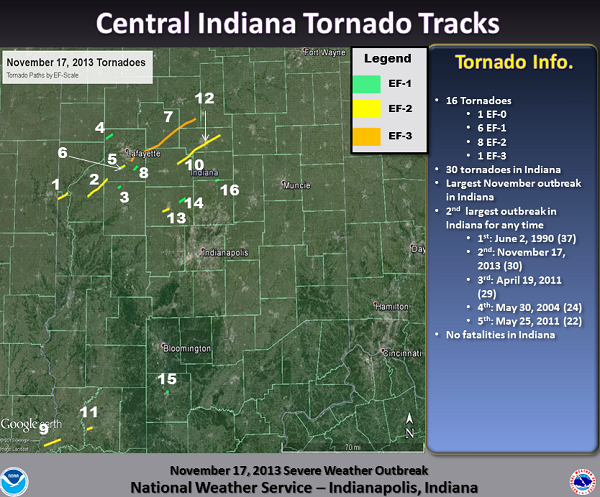 Plot of Tornado Paths in central Indiana. Click to enlarge