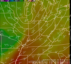 Surface pressure, observations, and dewpoints at 3:00 PM. - Click to enlarge