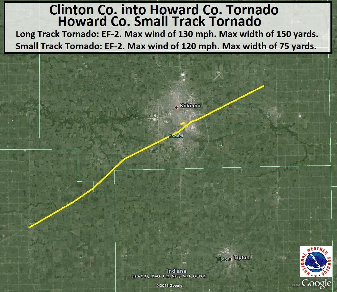 Howard County Indiana Map.Clinton And Howard County Tornado Of November 17 2013