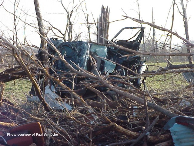 What happens to a vehicle caught in a tornado