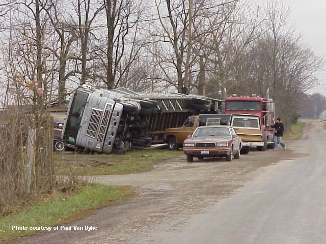 Semi truck blown over near Van Wert