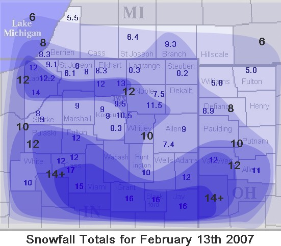 Snowfall Map for February 13, 2007