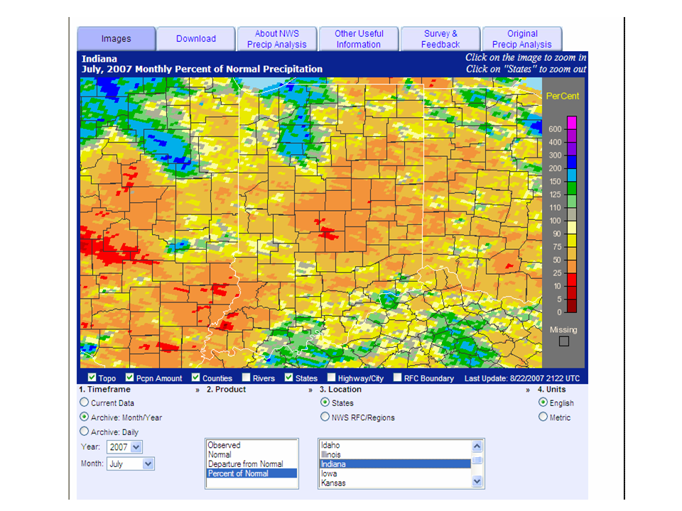 Analysis showing percent of normal precipitation for July 2007