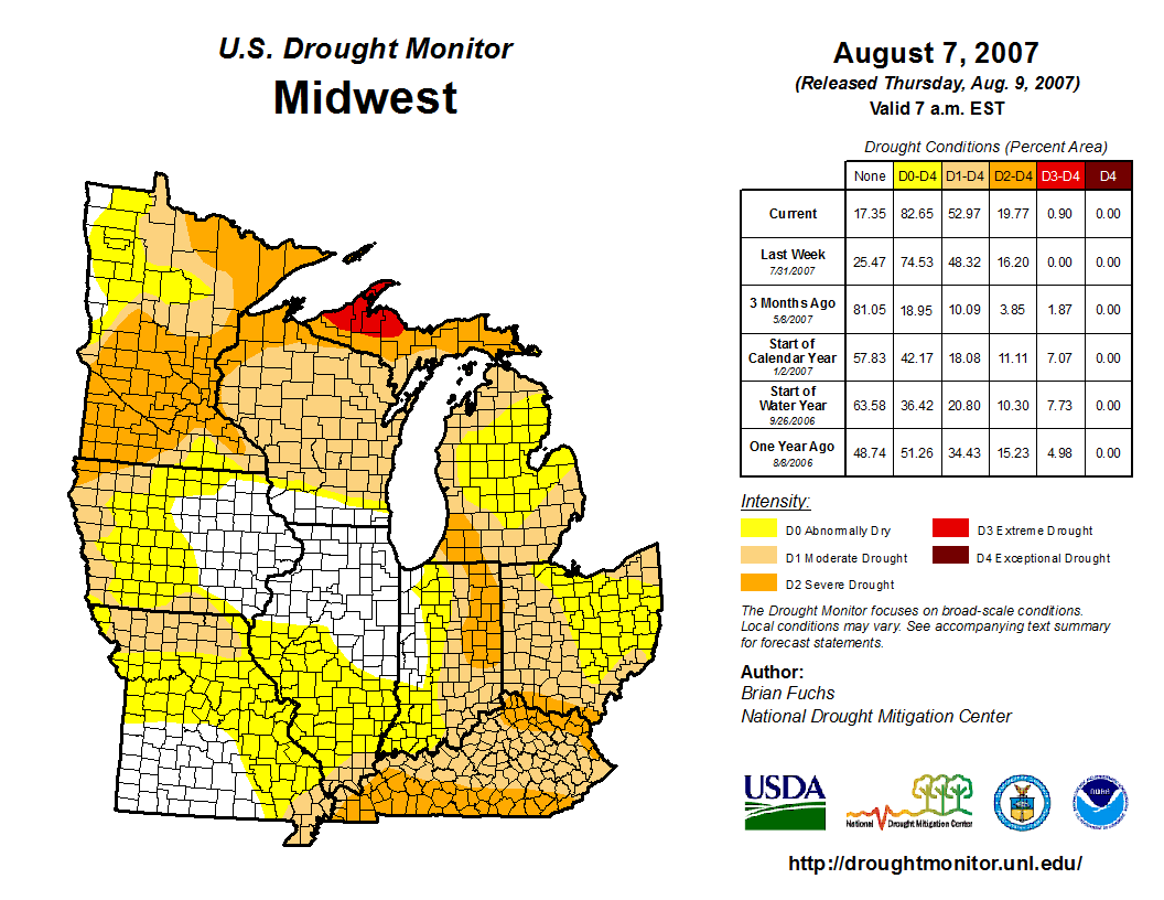 Drought Monitor from early August 2007