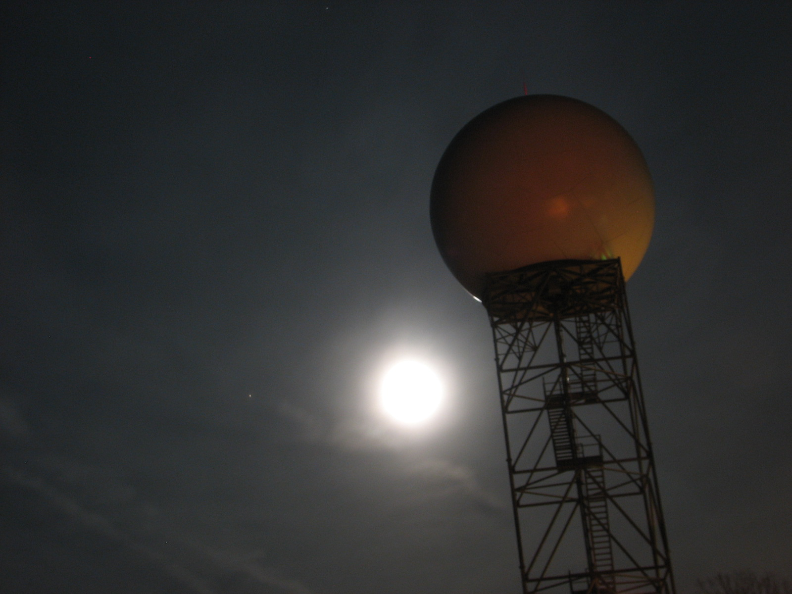 Wolf Moon behind NWS Northern Indiana WSR-88D. The planet Mars can be seen to the left of the bright Wolf Moon.
