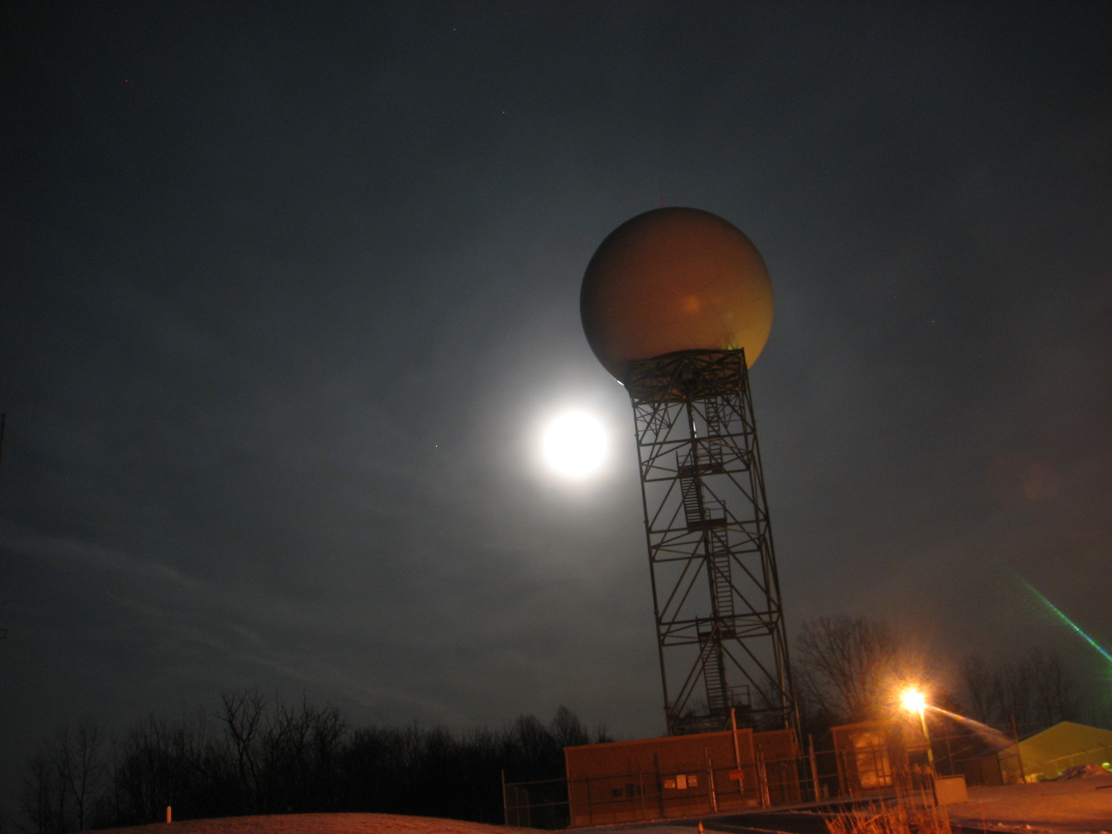 Wolf Moon behind NWS Northern Indiana WSR-88D.