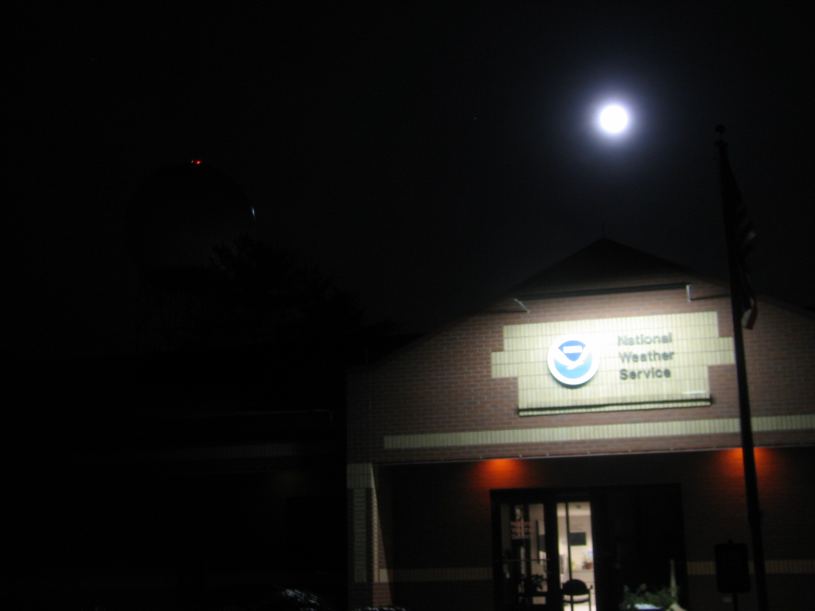 Wolf Moon over top of NWS Northern Indiana office.