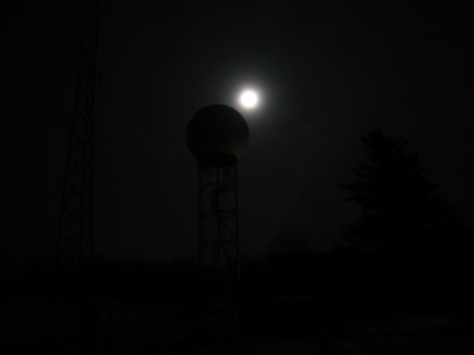Silhouette of KIWX WSR-88D radar with Wolf Moon in background