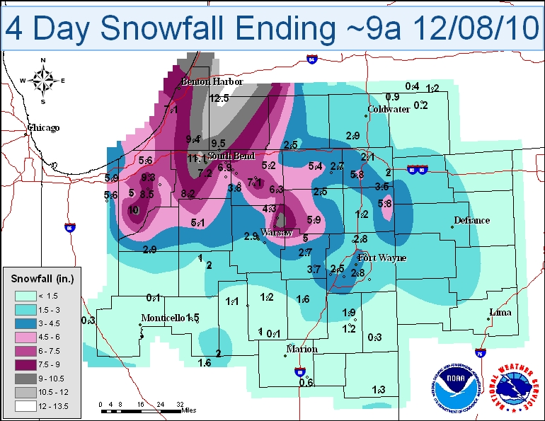 4 day storm total snowfall