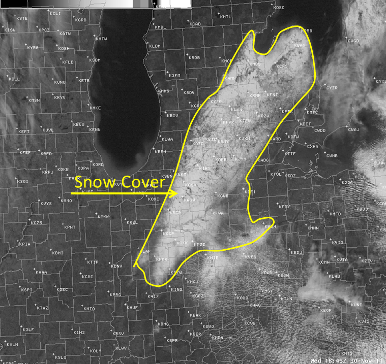 visible image depicting the heavy snow band