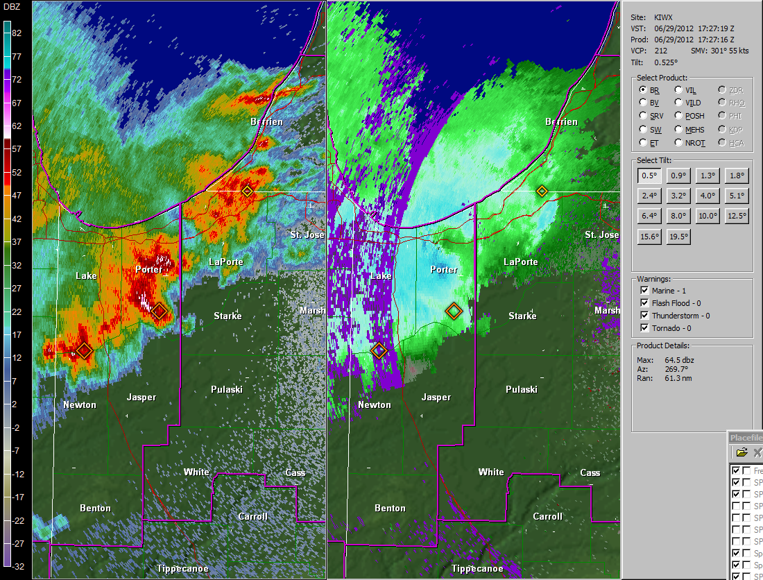 Image of initial radar capture as storms entered northwest Indiana at 127 pm EDT June 29th 2012