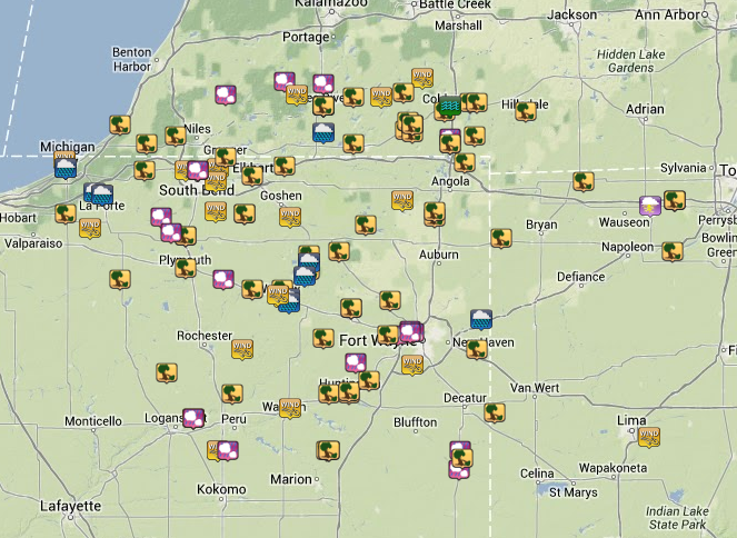 Map of Storm Reports Received - Click for an interactive version