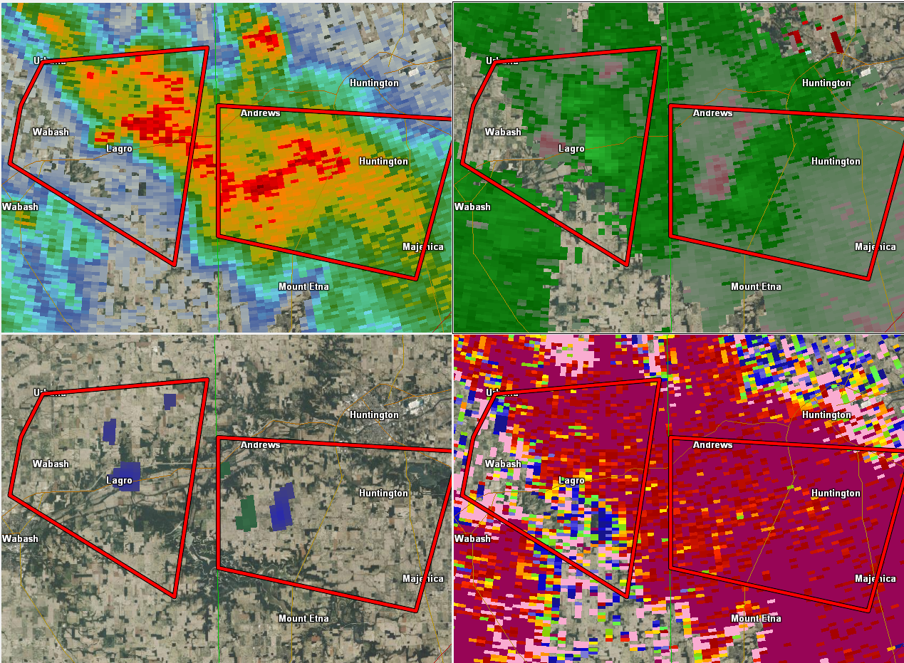Indiana wabash county lagro - Radar Reflectivity Top L Sr Velocity Top R Nrot Bot L And Correlation Coefficient Bot R Storm In Wabash Moving Towards Huntington County In