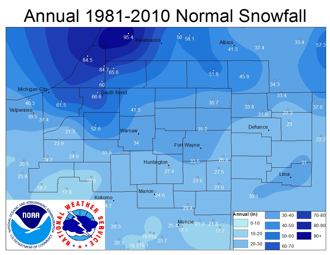 National Weather Service Climate - Us annual snowfall map