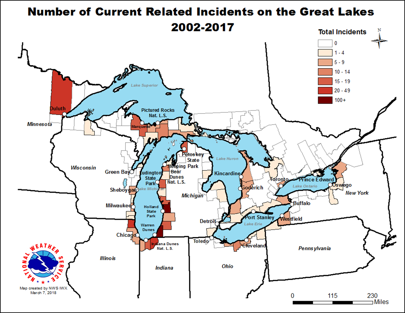 Great Lakes Swim Season Summaries - Great-lakes-on-the-us-map