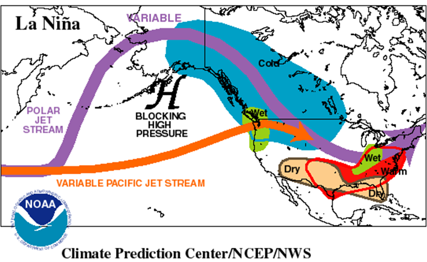 La Nina How Does It Impact Our Winter Locally - Map of weather patterns in the us