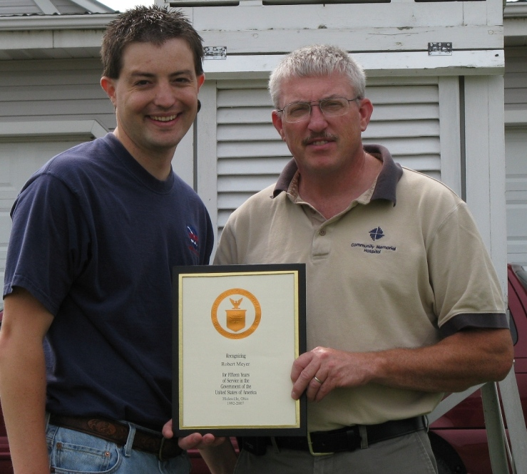 15 year length of service award for weather observations for the National Weather Service