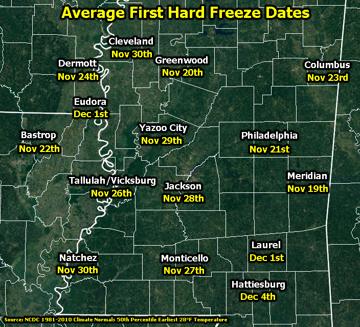 First Hard Freeze Dates