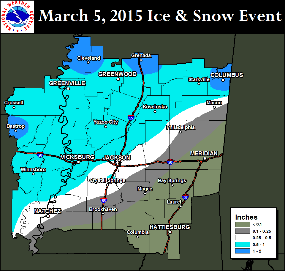Weather Map Jackson Ms.Nws Jackson Ms March 5 2015 Winter Weather