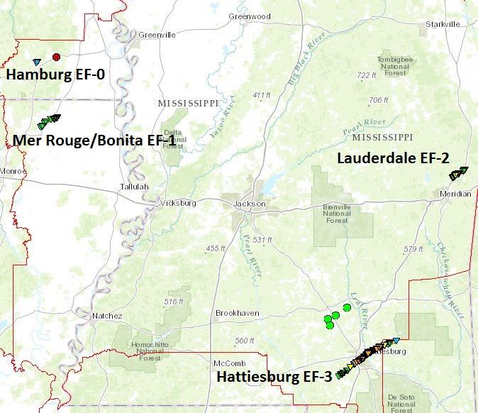 Hattiesburg Zip Code Map.January 21 2017 Severe Weather Event