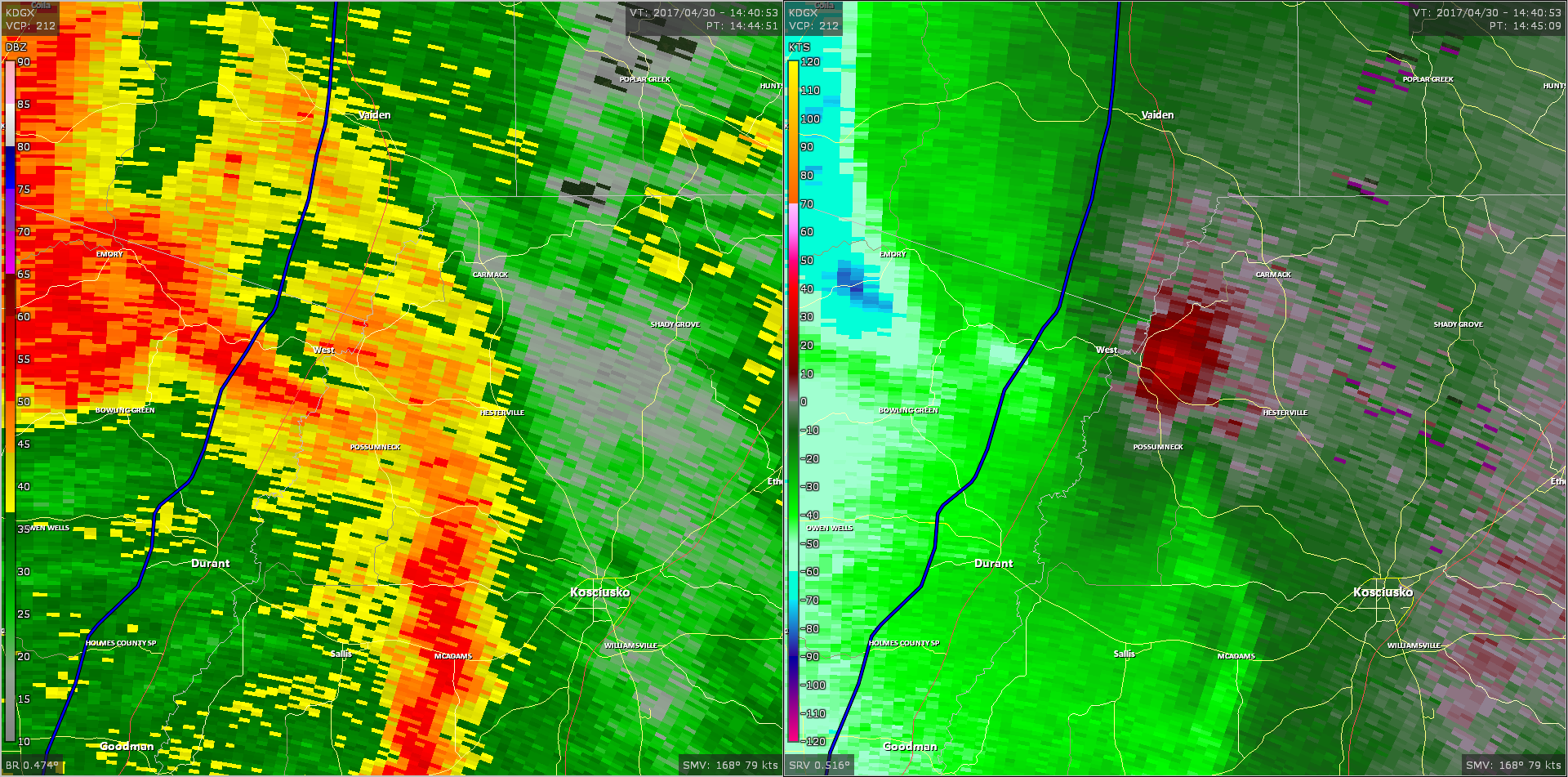 Radar - Northwest Attala County Tornado