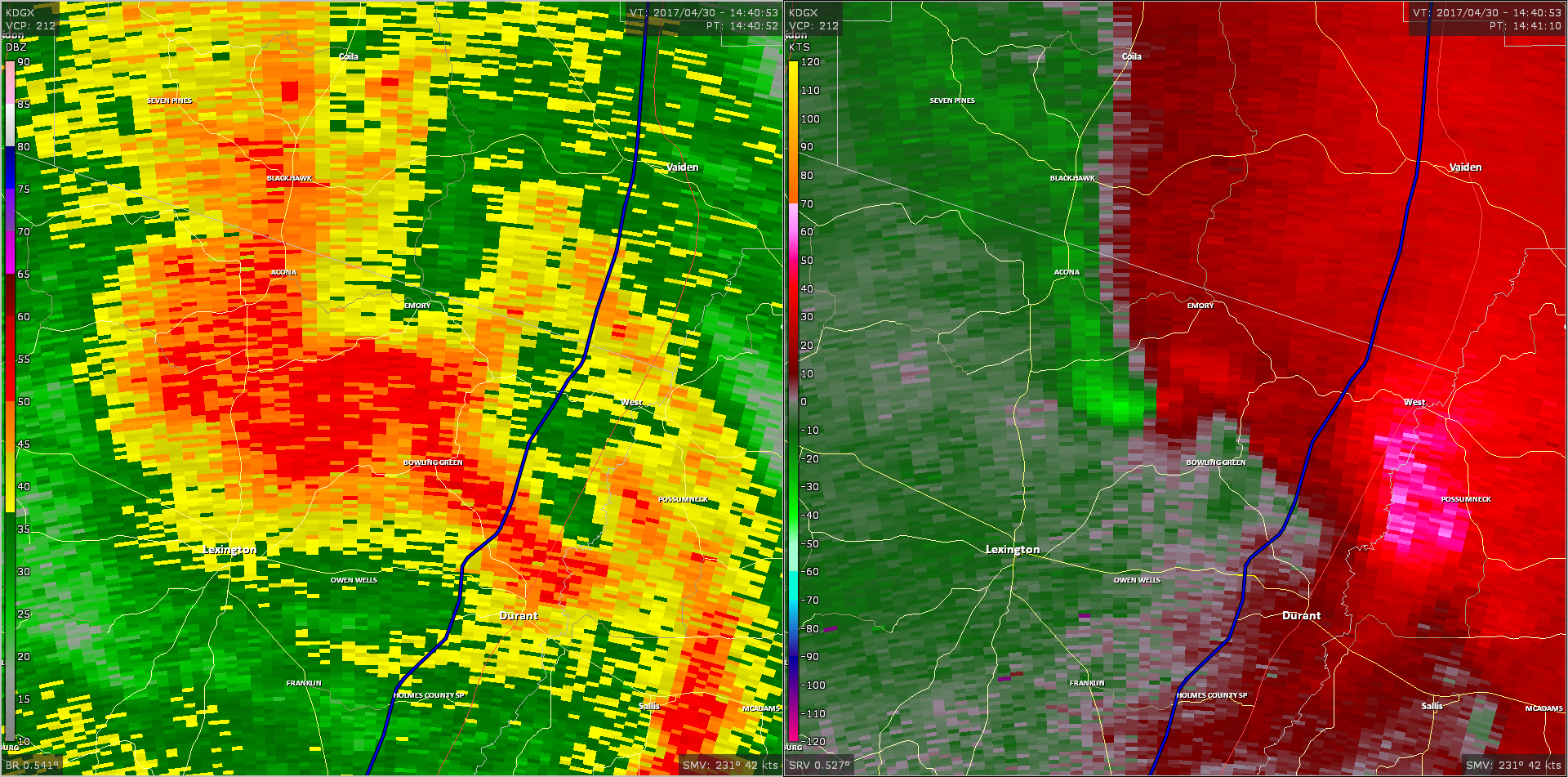 Radar - Holmes and Carroll County Tornado
