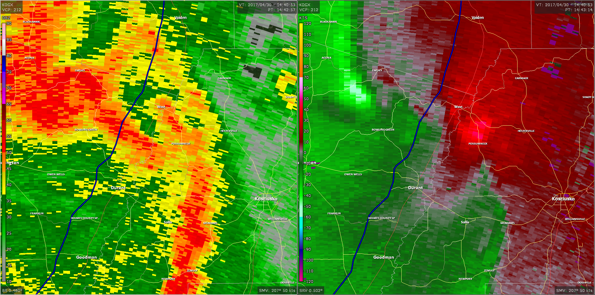 Radar - Northeast Holmes County Tornado