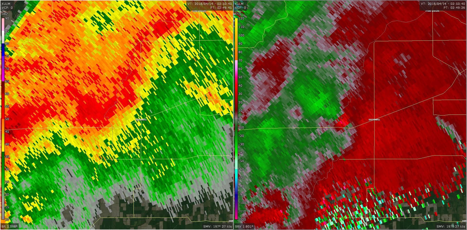 Radar - Morehouse Parish Tornado