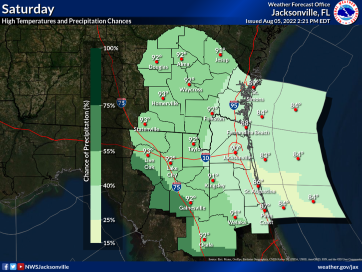 High Temperatures Sky Cover And Rain Chances For Saay