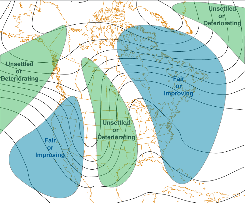 Where weather occurs related to troughs and ridges.