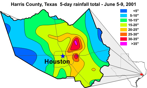 5-day rainfall total for Harris County, Texas, June 5-9, 2001