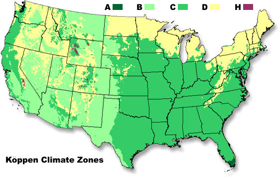 NWS JetStream Climate - Us map climate zones