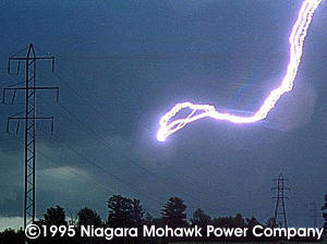 Lightning Striking A Power Line Notice It DID NOT Strike The Towers Though They Are Taller Than Position Where Struck