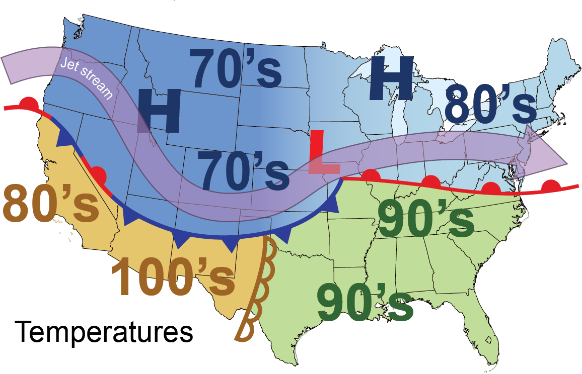 Typical temperatures for Summer based upon this scenario.