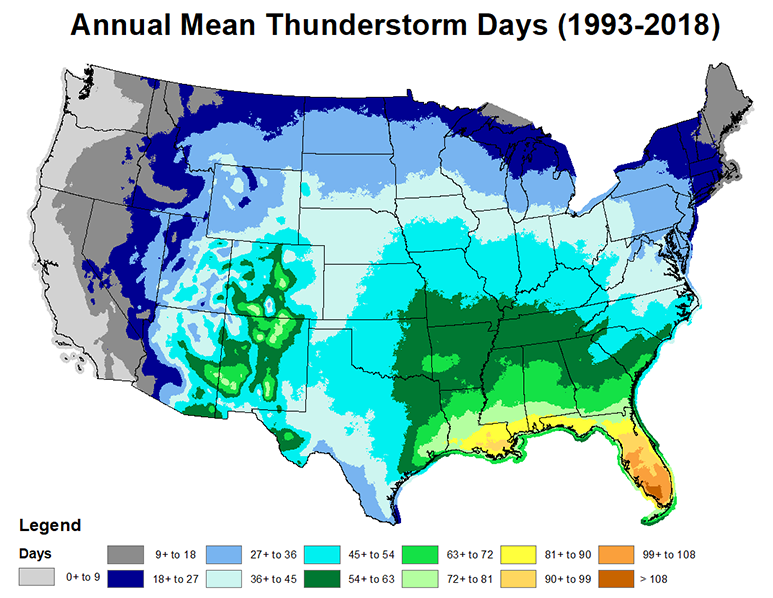 Us Thunderstorm Frequency Map NWS JetStream   Thunderstorms