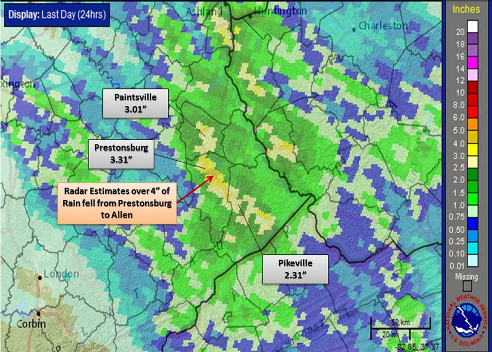 Severe Flash Flooding Targets Several East Kentucky Counties from