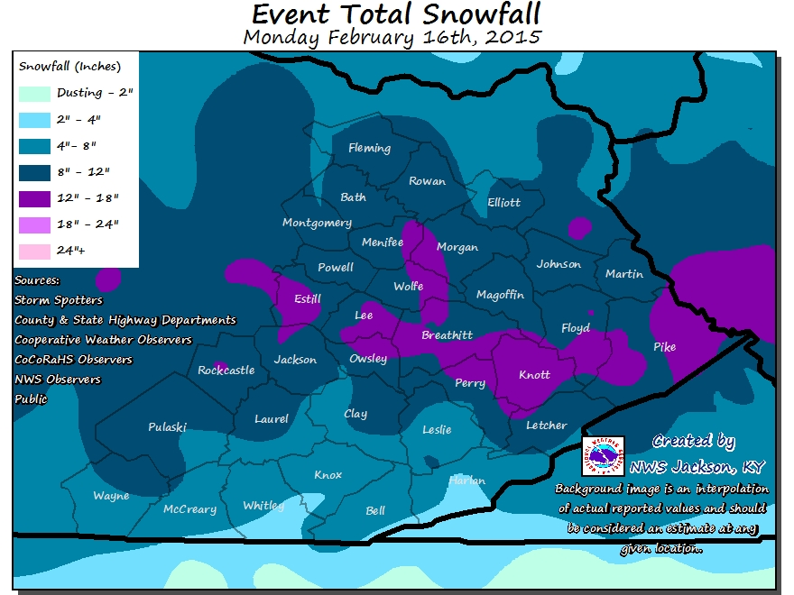 Snow Total Graphic From 9 pm Monday