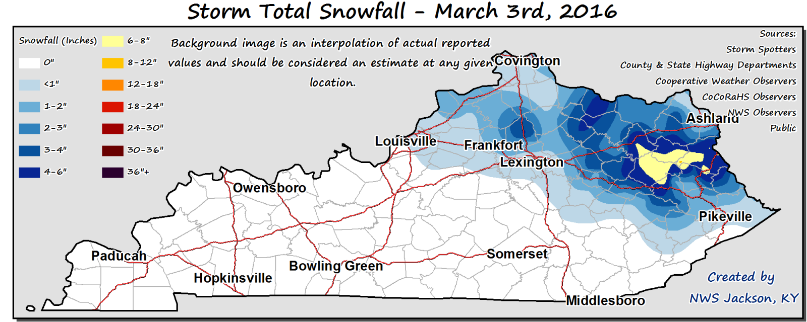 Maps and Reports of Thursday\'s Snowfall