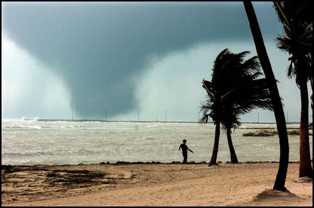 photograph of a violent waterspout located over hawk channel about four miles southwest of key west fl at approximately 1600 edt 23 october 2005