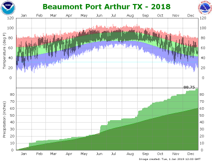 Beaumont/Port Arthur temp/rain YTD image