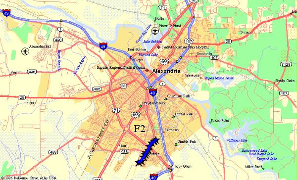Map of Alexandria with tornado damage track