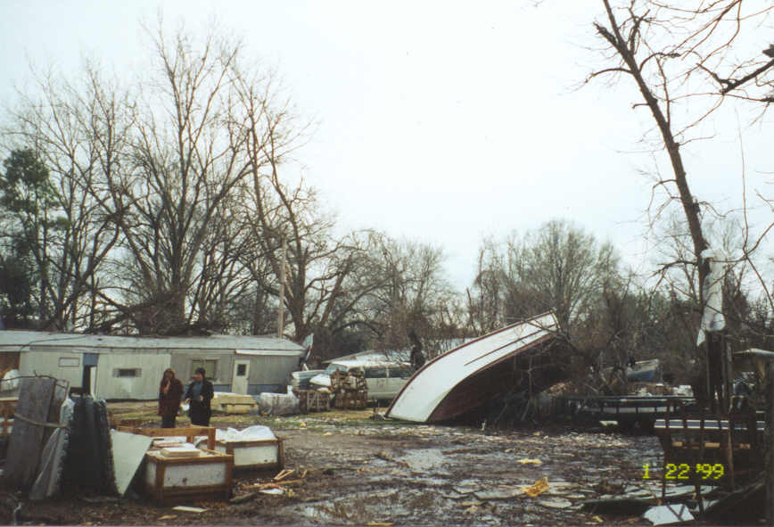Another view of destroyed mobile home