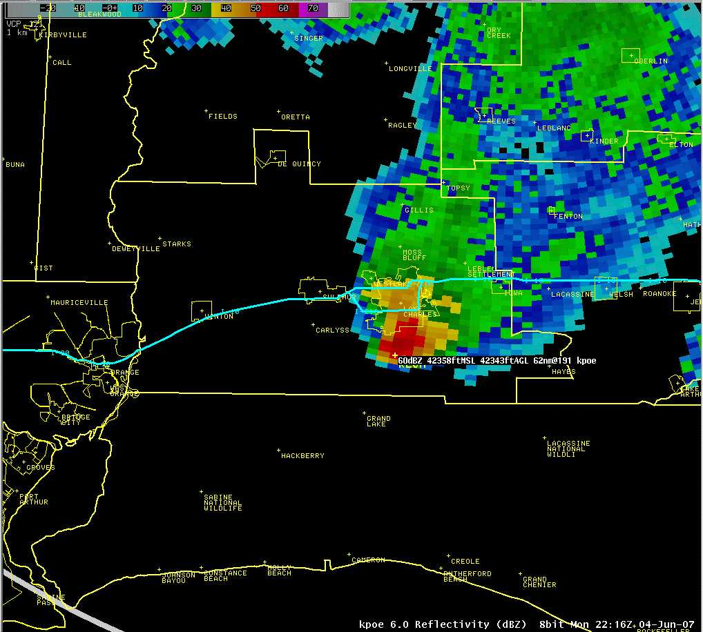 43000 foot reflectivity core at 2216