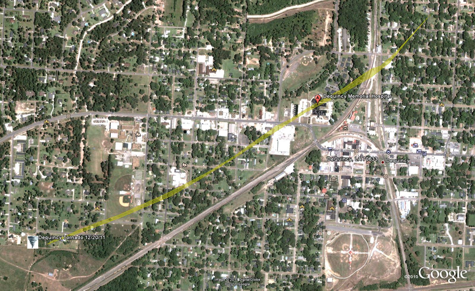 Map of DeQuincy tornado - click for larger image