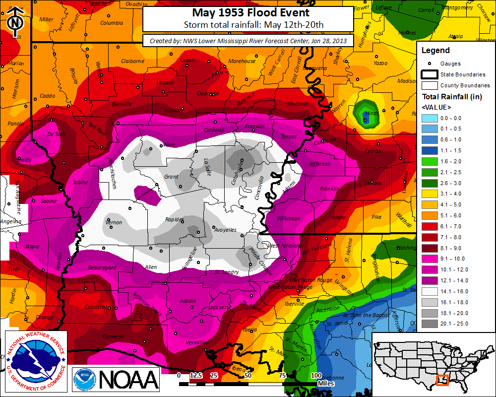 May 1953 Flood Event rainfall image
