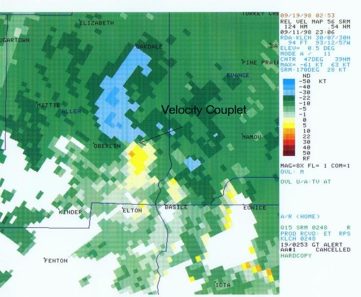 Associated storm relative velocity product